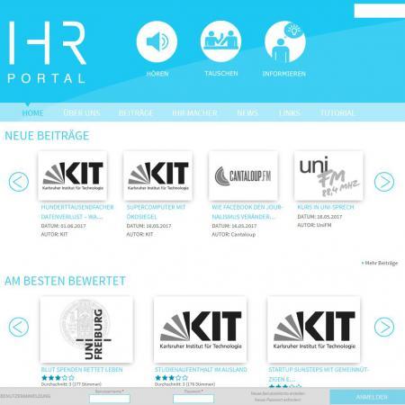 Bildschirmfoto Startseite von IHR
