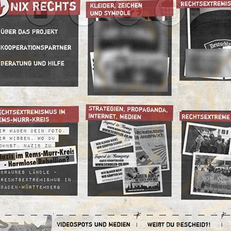 Bildschirmfoto Startseite von Nix Rechts