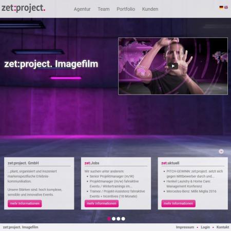 Bildschirmfoto Startseite von zetProjekt