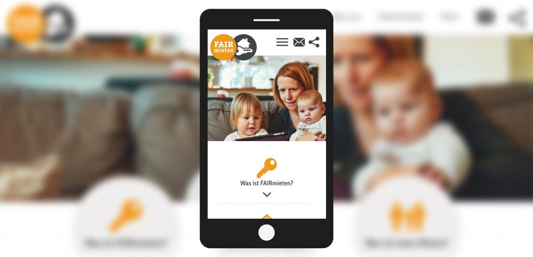 Bildschirmfoto Handy Startseite von faire Vermieter