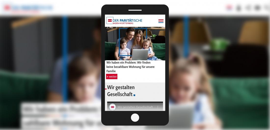 Bildschirmfoto Handy Startseite von Der PARITÄTische Baden-Württemberg