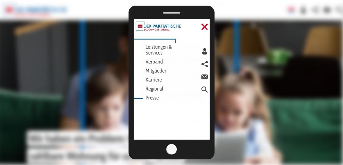 Bildschirmfoto Handy Menue von Der PARITÄTische Baden-Württemberg