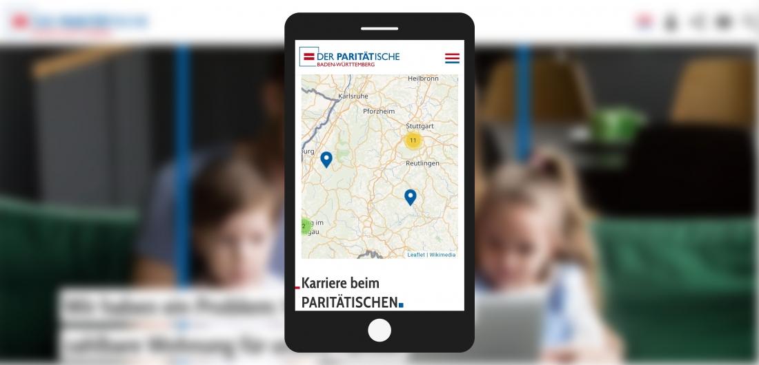 Bildschirmfoto Handy Stellenangebote von Der PARITÄTische Baden-Württemberg