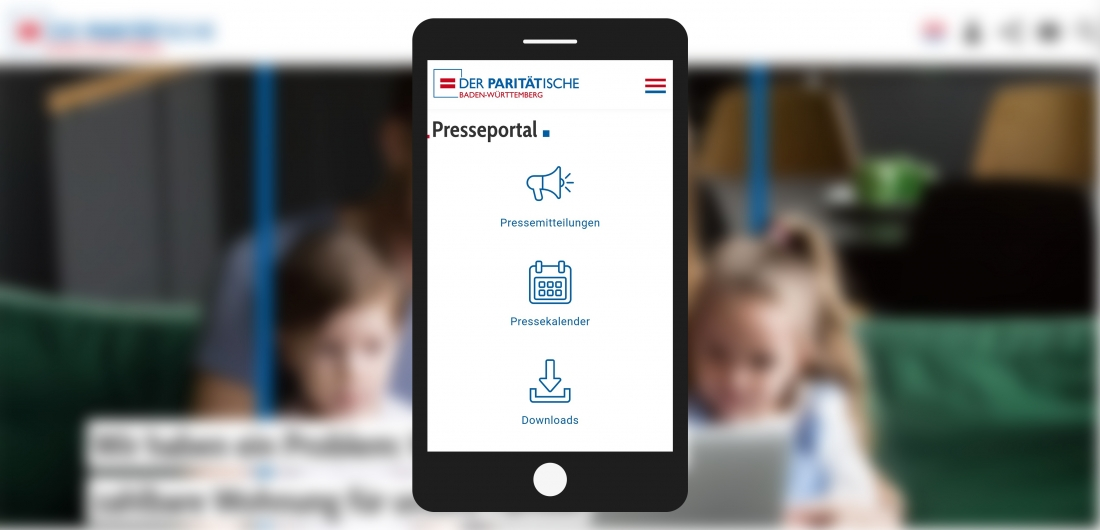 Bildschirmfoto Handy Presseportal von Der PARITÄTische Baden-Württemberg