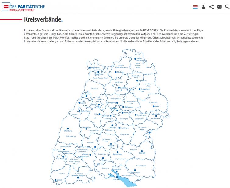 Bildschirmfoto Kreisverbaende von Der PARITÄTische Baden-Württemberg