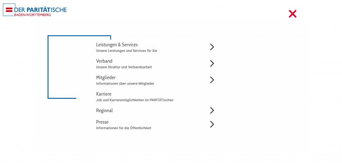 Bildschirmfoto Menue von Der PARITÄTische Baden-Württemberg