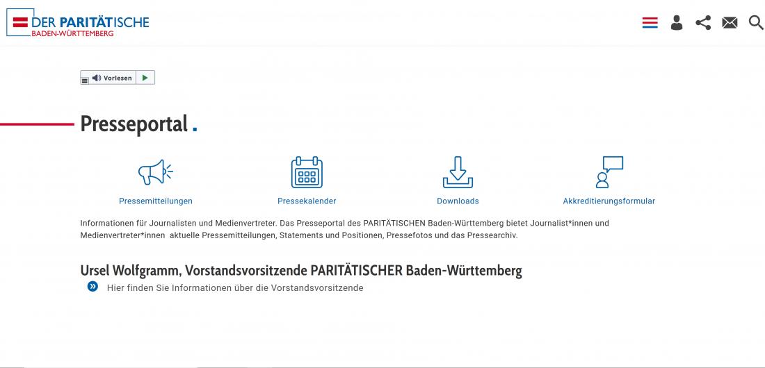 Bildschirmfoto Presseportal von Der PARITÄTische Baden-Württemberg
