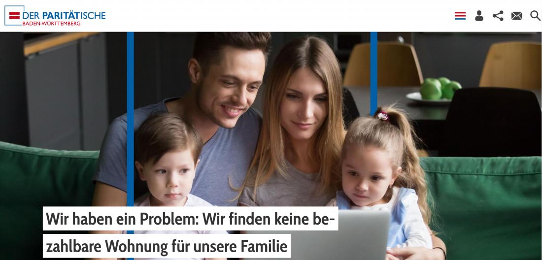 Bildschirmfoto Startseite von Der PARITÄTische Baden-Württemberg