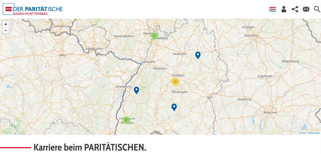 Bildschirmfoto Stellenangebote von Der PARITÄTische Baden-Württemberg