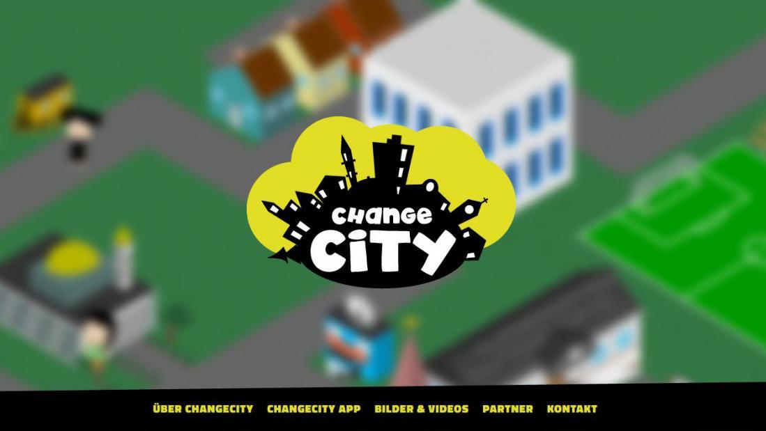 Bildschirmfoto Startseite von ChangeCity