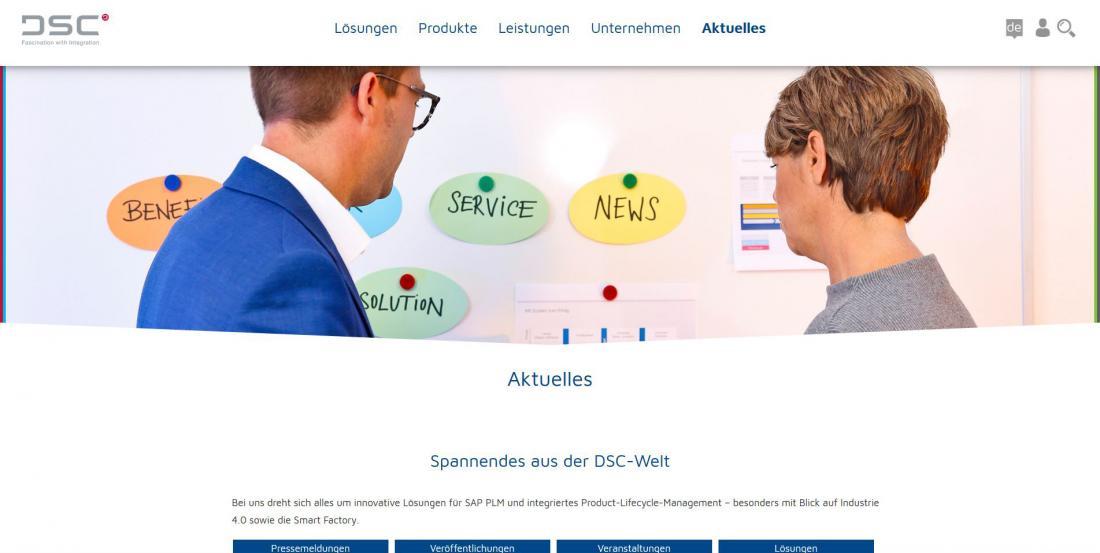 Bildschirmfoto Aktuelles von DSC