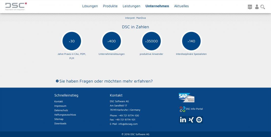 Bildschirmfoto Informationen über DSC