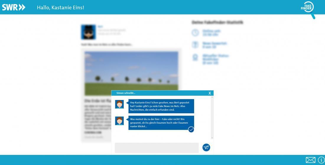 Bildschirmfoto von Dialog von SWR Fakefinder