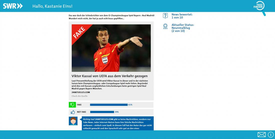 Bildschirmfoto Inhalt gefälschter Bericht SWR Fakefinder