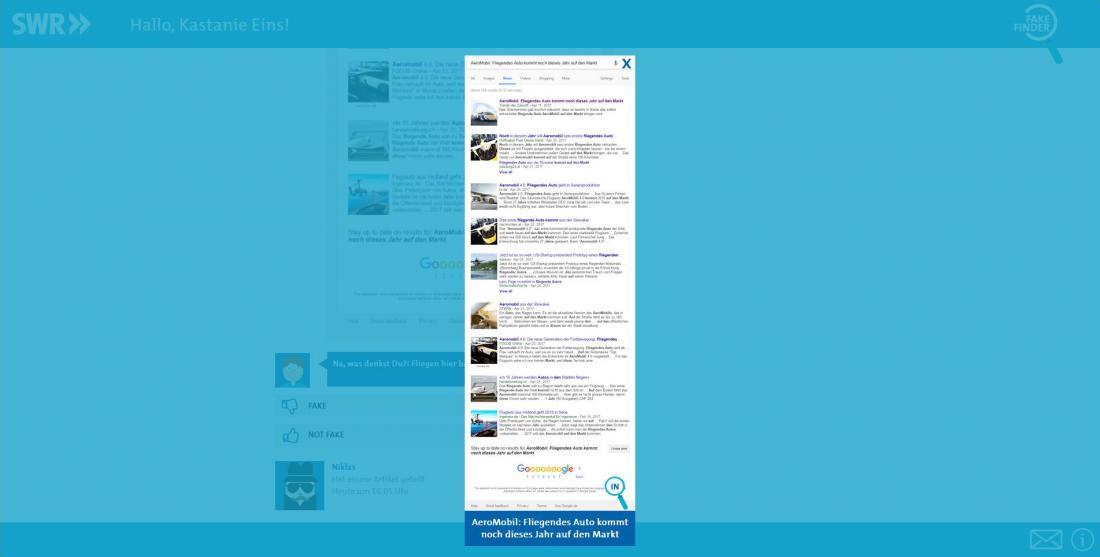 Bildschirmfoto Informationen SWR Fakefinder