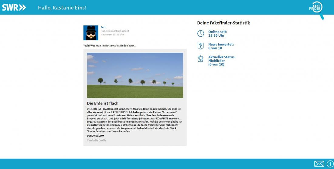 Bildschirmfoto Inhalt von SWR Fakefinder