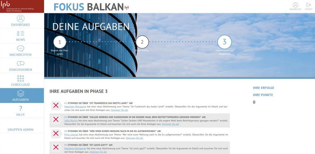 Bildschirmfoto Aufgaben von Fokus Balkan