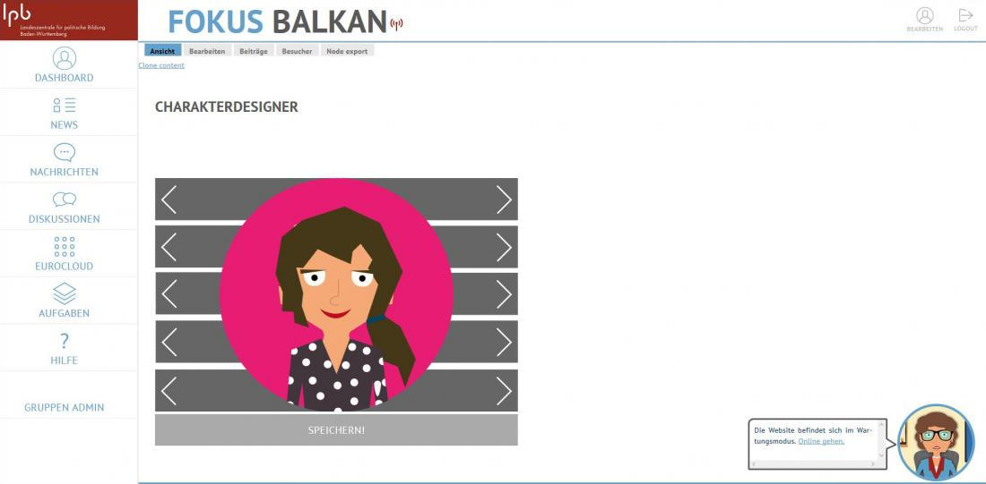 Bildschirmfoto Charaktergestalter von Fokus Balkan