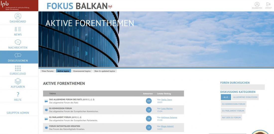 Bildschirmfoto Diskussionsgruppen von Fokus Balkan