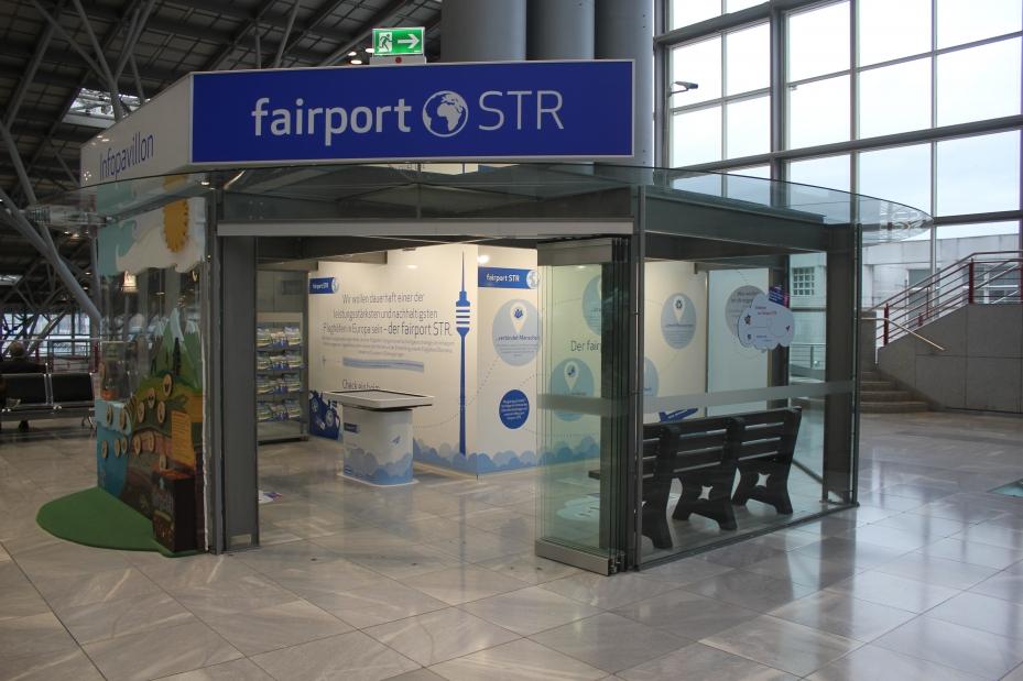 Der Fairportpavillion von außen im Flughafen Stuttgart