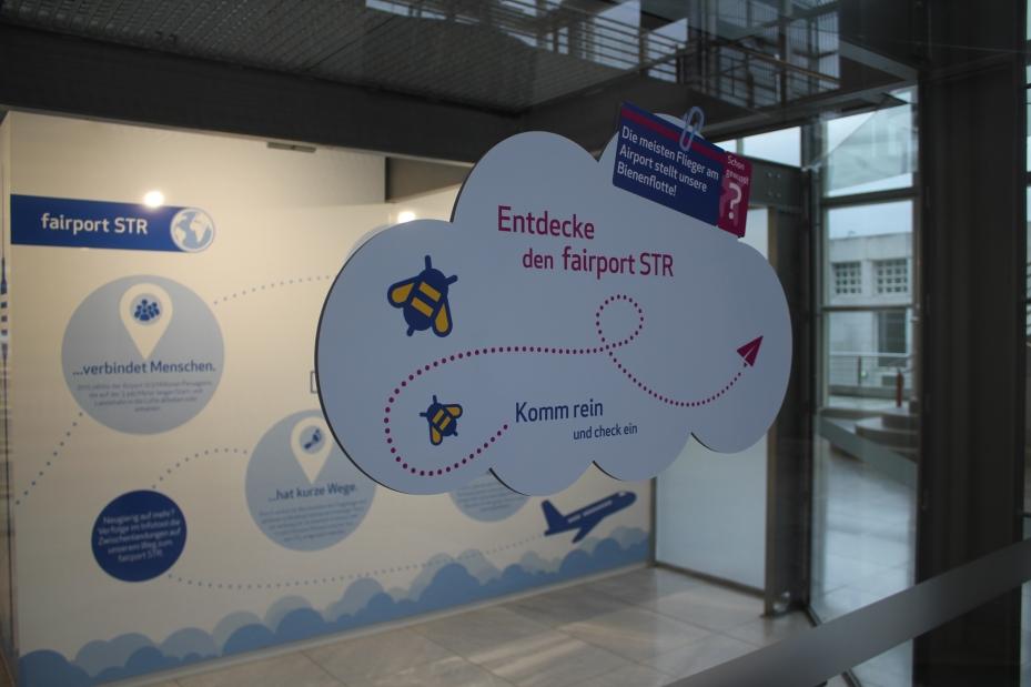 Beklebung von außen im Fairportpavillion Flughafen Stuttgart