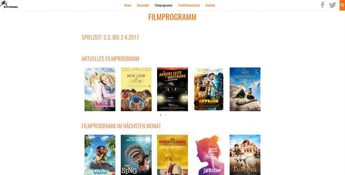 Bildschirmfoto Filmprogramm von Kinomobil