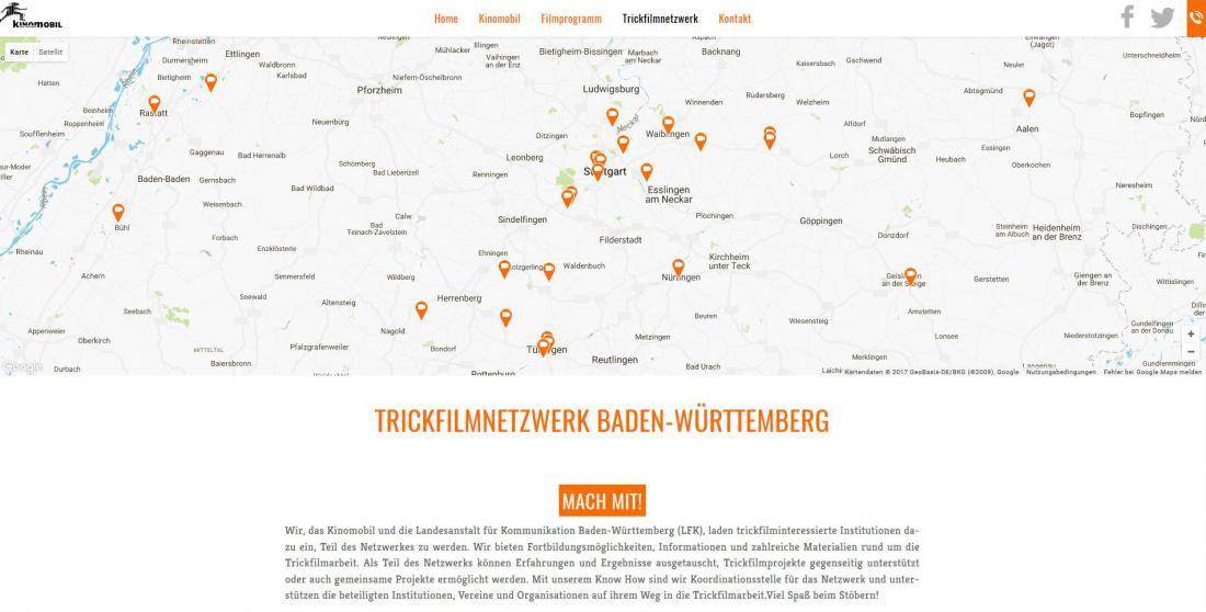 Bildschirmfoto Projektnetzwerk von Kinomobil