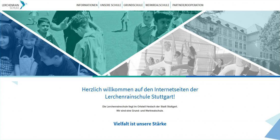 Bildschirmfoto Startseite von der Lerchenrainschule