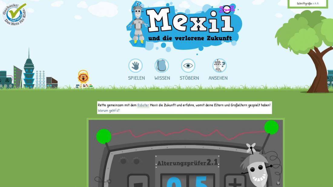 Bildschirmfoto Startseite von Mexii