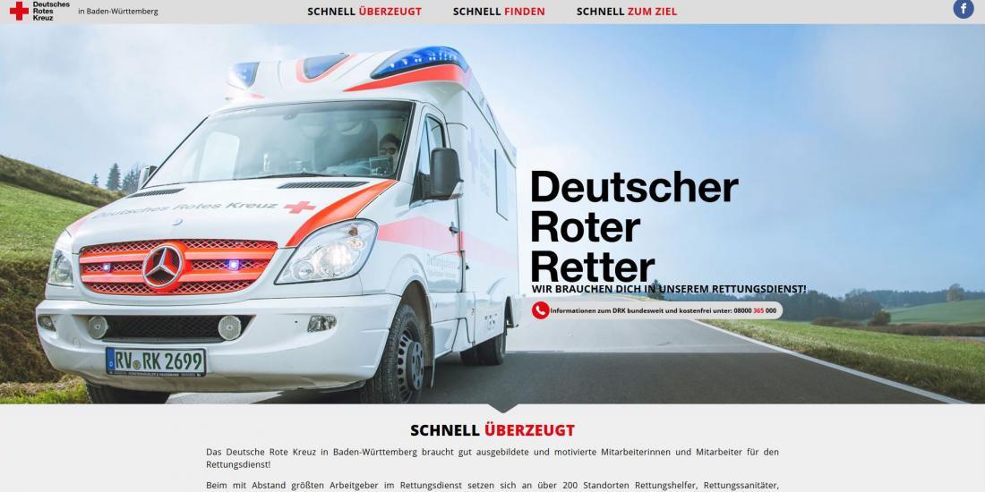 Bildschirmfoto Startseite von DRK