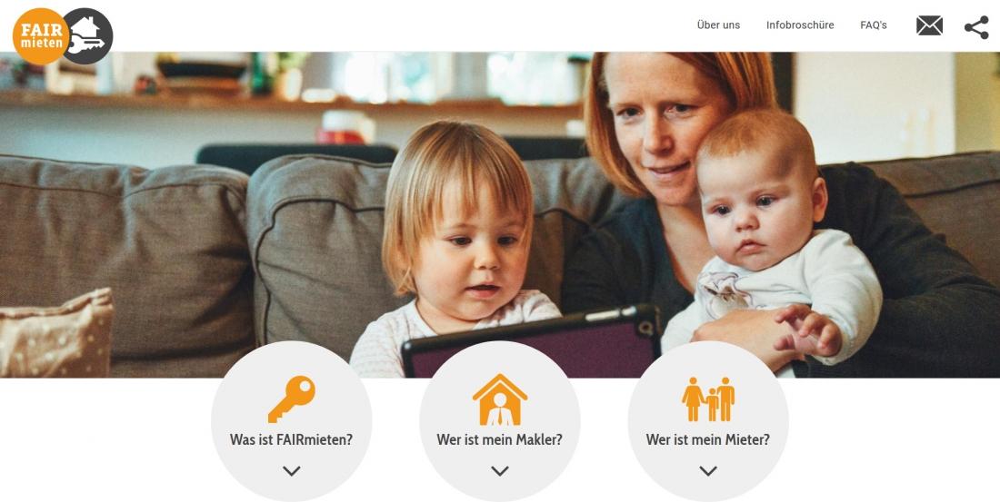 Bildschirmfoto Startseite von faire Vermieter