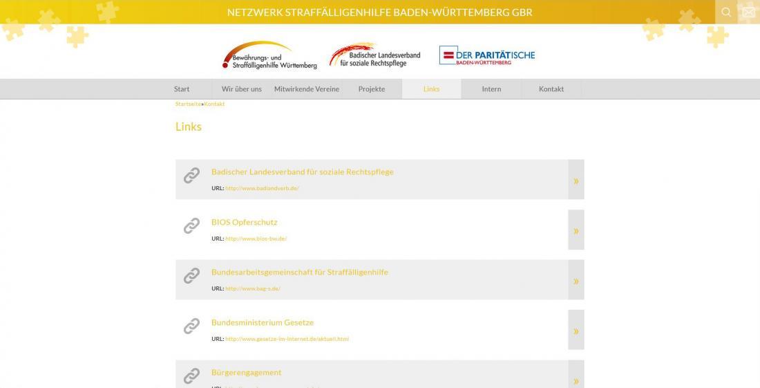 Bildschirmfoto Netzwerk Straffälligenhilfe Baden-Württemberg Linkübersicht