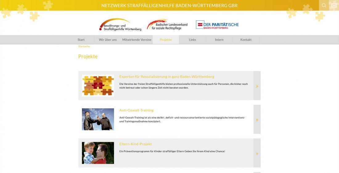 Bildschirmfoto Netzwerk Straffälligenhilfe Baden-Württemberg Projekte