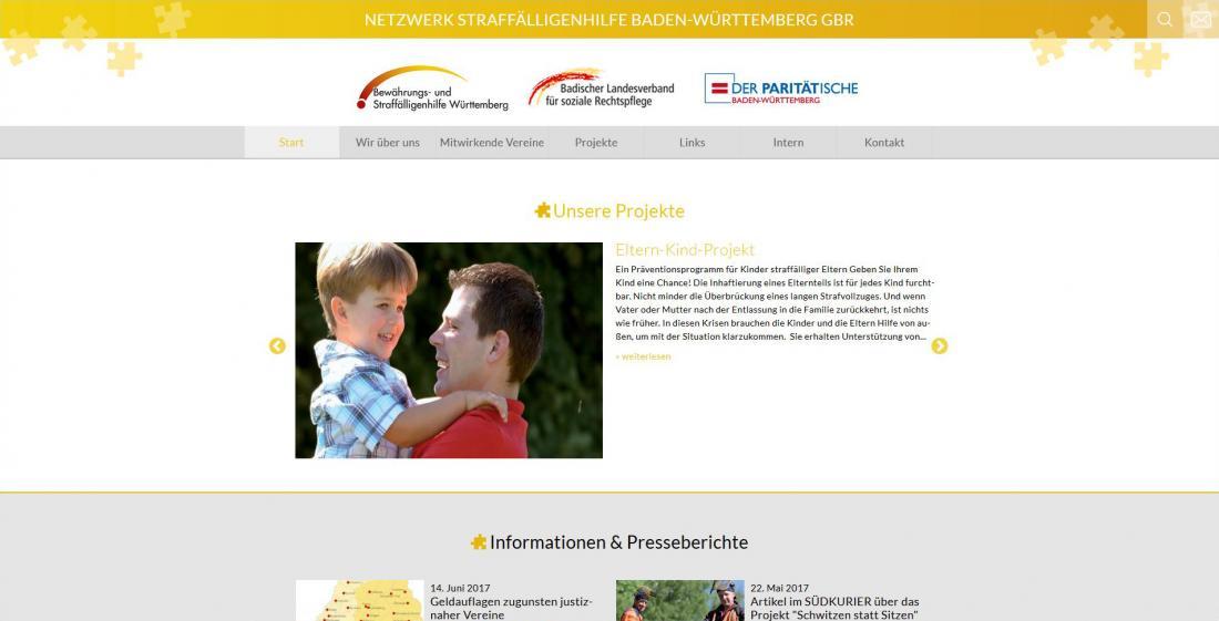 Bildschirmfoto von der Startseite von Netzwerk Straffälligenhilfe Baden-Württemberg GBR