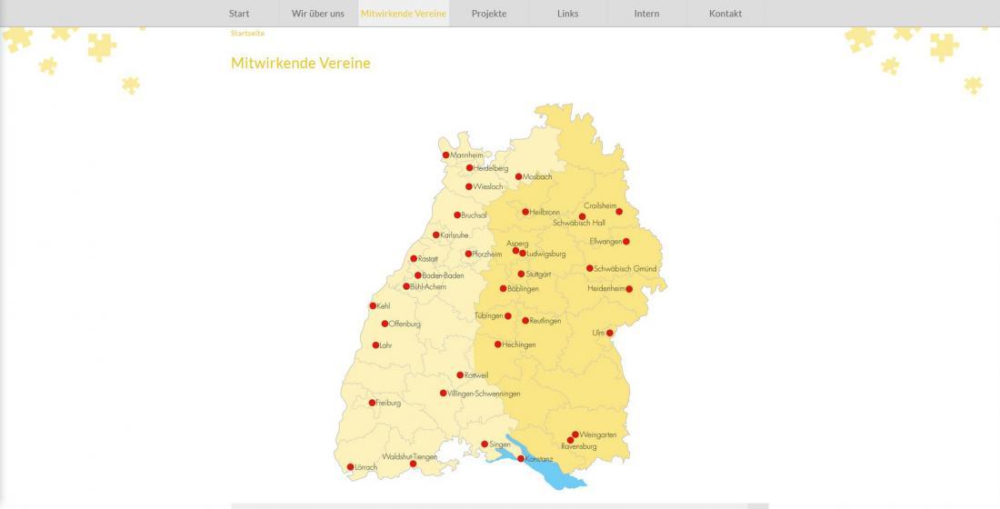 Bildschirmfoto Netzwerk Straffälligenhilfe Baden-Württemberg Vereine