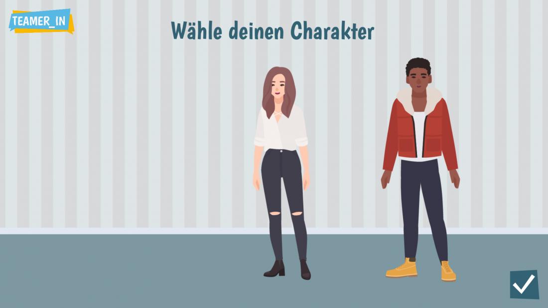 Bildschirmfoto Charaktererstellung von Teamer_in