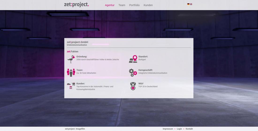 Bildschirmfoto Informationen zu zetProjekt