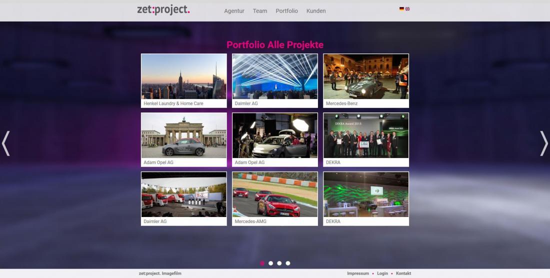 Bildschirmfoto Projekte von zetProjekt